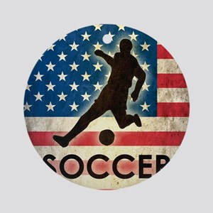 Grunge USA Soccer Round Ornament