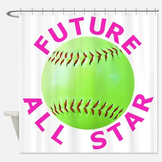 Kids Softball Shower Curtain
