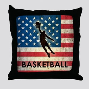 Grunge Basketball Throw Pillow