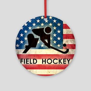 Grunge USA Hockey Round Ornament