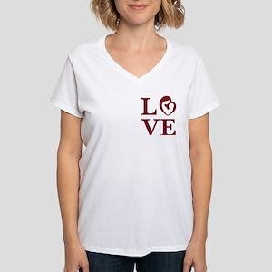 Ican Love Women's V-Neck T-Shirt Front/back