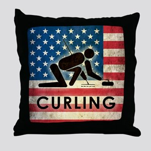 Grunge Curling Throw Pillow