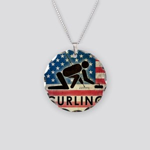 Grunge Curling Necklace Circle Charm