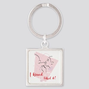 I kissed a poodle  Pink Rev Square Keychain