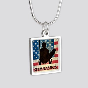 Grunge Gymnastics Silver Square Necklace