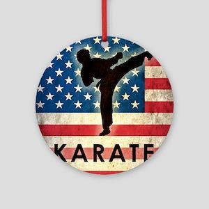 Grunge Karate Round Ornament