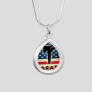 Grunge Karate Silver Teardrop Necklace