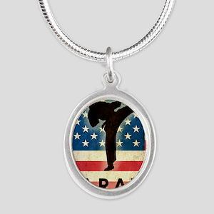 Grunge Karate Silver Oval Necklace