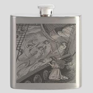 Vintage Mermaids Print Flask