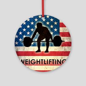 Grunge Weightlifting Round Ornament