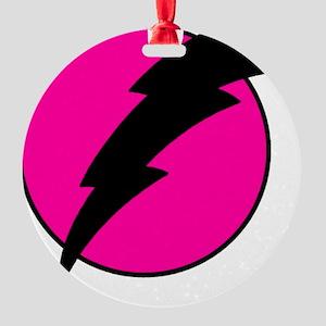 Flash Bolt Pink Lightning Round Ornament