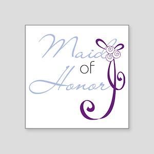 "Purple Wedding Ribbon Maid  Square Sticker 3"" x 3"""