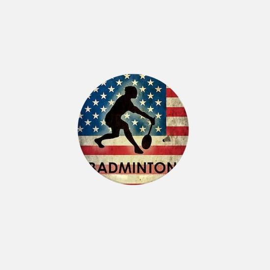 Grunge USA Badminton Mini Button