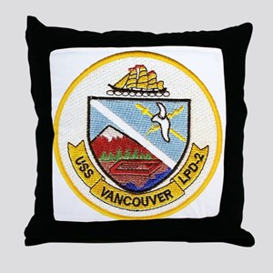 uss vancouver patch transparent Throw Pillow
