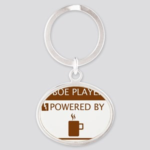 Oboe Player Powered by Coffee Oval Keychain