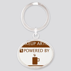 Makeup Artist Powered by Coffee Oval Keychain