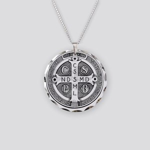Medal of Saint Benedict Necklace Circle Charm