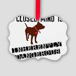 Closed Mind is Inherently Dangero Picture Ornament