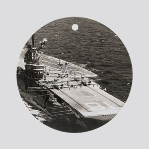 uss wasp cvs framed panel print Round Ornament