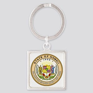 Hawaii State Seal Square Keychain