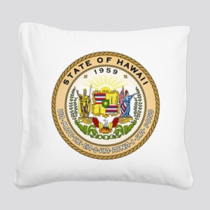 Hawaii State Seal Square Canvas Pillow