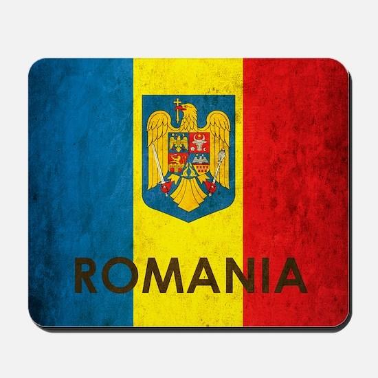 Romania Grunge Flag Mousepad