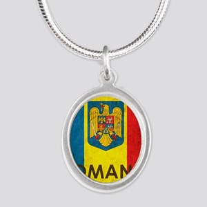 Romania Grunge Flag Silver Oval Necklace