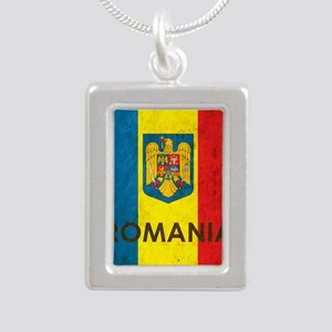 Romania Grunge Flag Silver Portrait Necklace