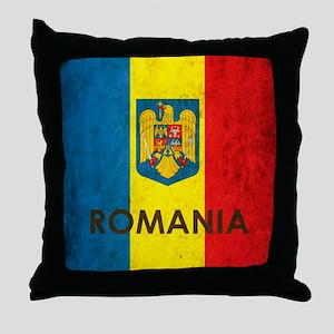 Romania Grunge Flag Throw Pillow