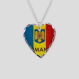 Romania Grunge Flag Necklace Heart Charm