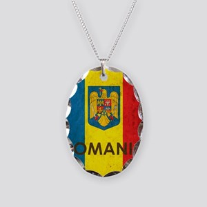 Romania Grunge Flag Necklace Oval Charm