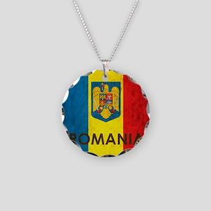 Romania Grunge Flag Necklace Circle Charm