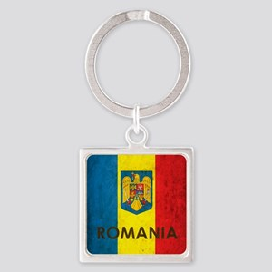 Romania Grunge Flag Square Keychain