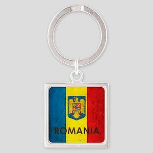 Romania Grunge Flag Square Keychain