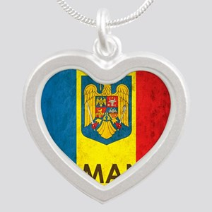 Romania Grunge Flag Silver Heart Necklace