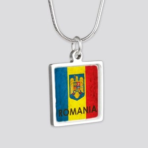 Romania Grunge Flag Silver Square Necklace
