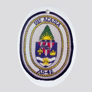 uss acadia patch transparent Oval Ornament