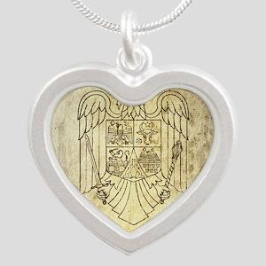 Vintage Romania Silver Heart Necklace