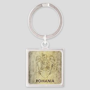 Vintage Romania Square Keychain