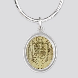 Vintage Romania Silver Oval Necklace