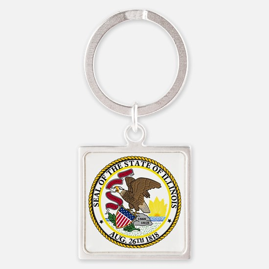 Illinois State Seal Square Keychain