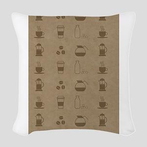 Coffee Icons Woven Throw Pillow