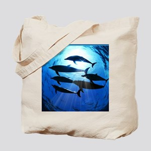 Porpoises in the Ocean with Sun Rays Stre Tote Bag