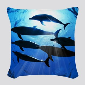 Porpoises in the Ocean with Su Woven Throw Pillow