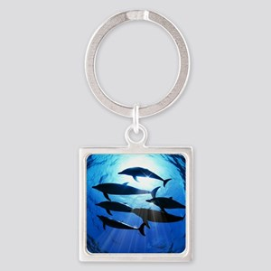 Porpoises in the Ocean with Sun Ra Square Keychain
