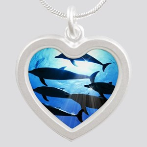 Porpoises in the Ocean with  Silver Heart Necklace