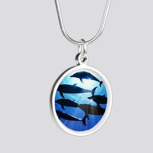 Porpoises in the Ocean with  Silver Round Necklace