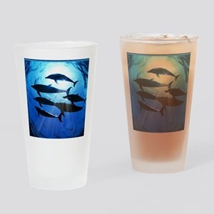 Porpoises in the Ocean with Sun Ray Drinking Glass