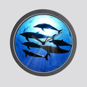 Porpoises in the Ocean with Sun Rays St Wall Clock