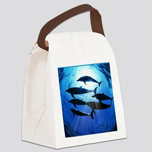 Porpoises in the Ocean with Sun R Canvas Lunch Bag